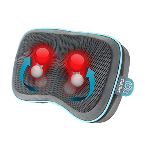 HoMedics Gel Shiatsu Wärme-Reisekissen, Massagekissen für Beine, Lendenwirbelsäule, Schultern und Nacken, wiederaufladbar, Reisegröße mit integrierten Bedienelementen, inklusive Reisetasche, grau
