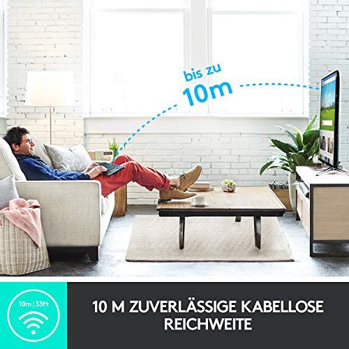 Logitech K400 Plus Kabellose TV-Tastatur mit Touchpad, 2.4 GHz Verbindung via Unifying USB-Empfänger, Programmierbare Multimedia-Tasten, Windows/Android/ChromeOS, Deutsches QWERTZ-Layout - Schwarz