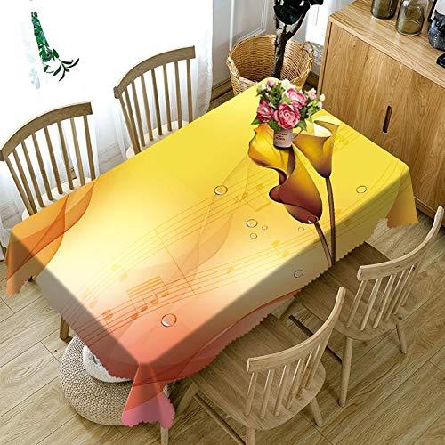 XXDD Mantel Rectangular 3D de Estilo Europeo con patrón de Flor de Hoja Grande Amarilla Mantel Impermeable Mantel de Fiesta Engrosado A6 135x200cm
