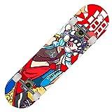 Skateboard Fille Pro Planche à roulettes Double Kick Concave Cruiser Complet Roues PU 7 Couches Érable 31 X 8 inch pour débutants Adolescents Enfants et Adultes