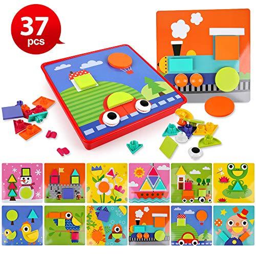 BeebeeRun 37 Stück Mosaik Steckspiel Spielzeug Set mit 12 Gemusterte Karten Geometrische Puzzle-Schaltfläche und Aufbewahrungsbox Pädagogische Baustein Spielzeug Lernspielzeug Geschenke für Kinder