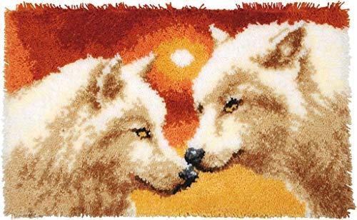 Vervaco 2 Wölfe Knüpfteppich, Stramin, Weiß, 69 x 43 x 0,3 cm