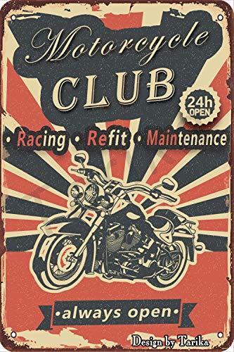 Motorcykel klubb racing återbäring underhåll 24H öppen retro look 20 x 30 cm tenn dekoration målning skylt för hem kök badrum gård trädgård garage inspirerande citat väggdekor