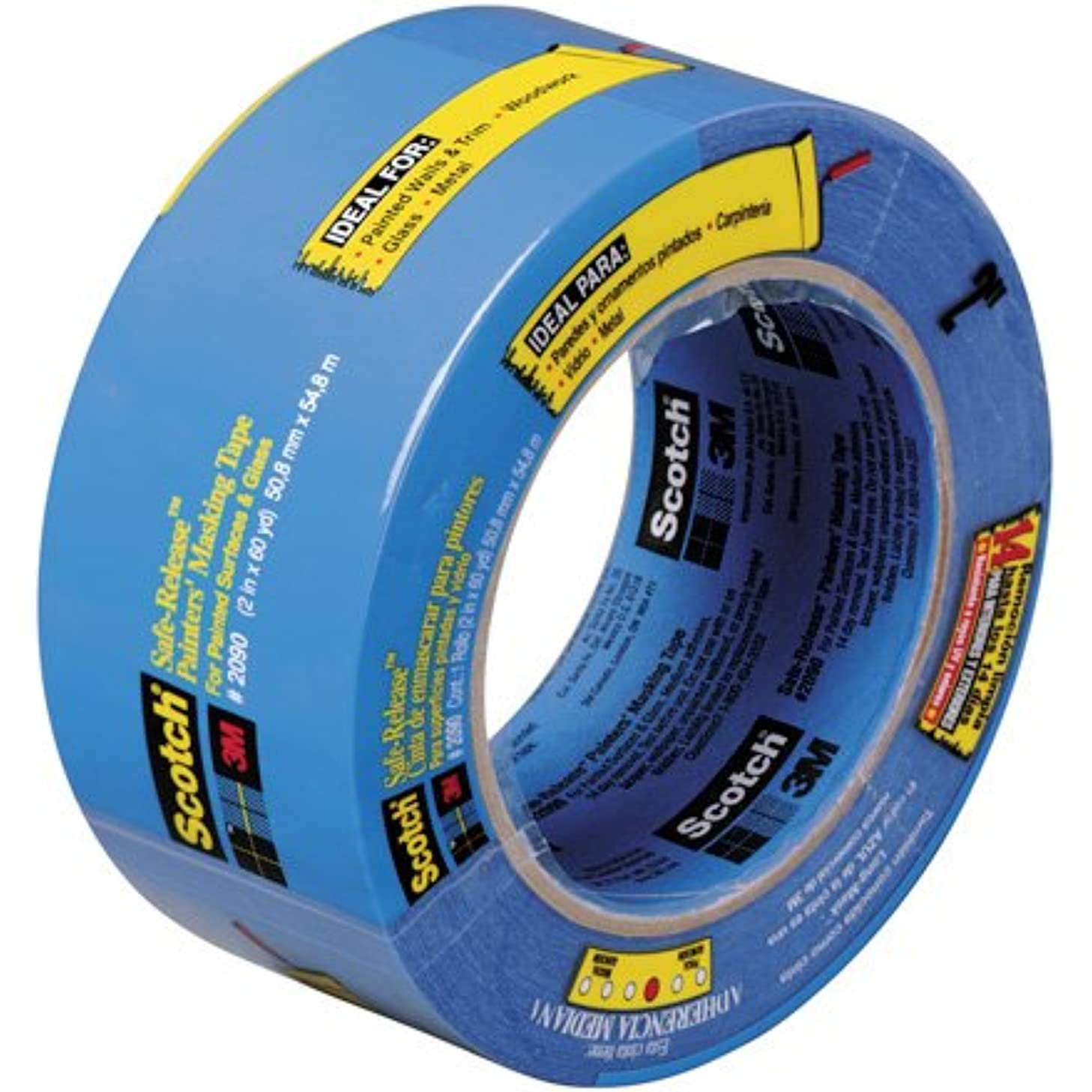 3M Scotch 2090 Crepe Paper Masking Tape, 200 Degrees F Performance Temperature, 24 lbs/in Tensile Strength, 60 yds Length x 3/4
