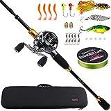 Sougayilang Baitcasting Travel Fishing Rod Reel Combos 7.0:1 Gear Baitcasting Fishing Reel-4PC Protable