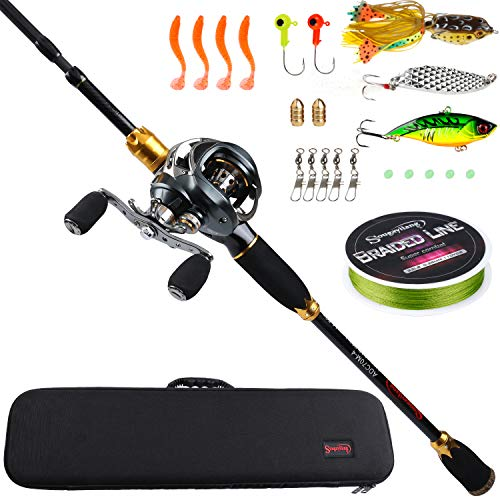 Sougayilang Baitcasting Travel Fishing Rod Reel Combos 7.0:1 Gear Baitcasting Fishing Reel-4PC Protable Fishing Pole with Fishing Carrier Bag -2.1M Golden Right Handed