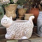 LXDDP Decoración del hogar Corral Animal Gato Blanco Jardín Interior Exterior Flor Planta Maceta Maceta Comedero