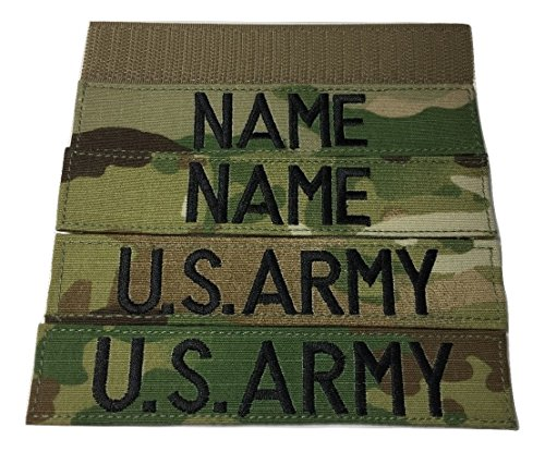 4 piece Multicam OCP Custom Name & US Army Tape, with Fastener, Customized