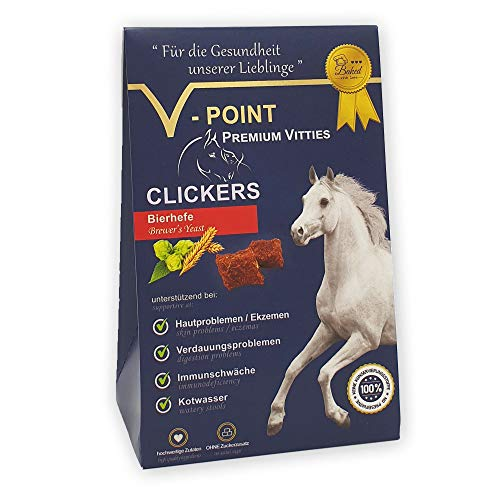 V-POINT Premium Vitties für Pferde CLICKERS mit Bierhefe - Hautprobleme Ekzeme Verdauungsprobleme Immunschwäche Kotwasser - Belohnungs-Snack Plus ohne Zuckerzusatz vegane Trainingsleckerli (250g)
