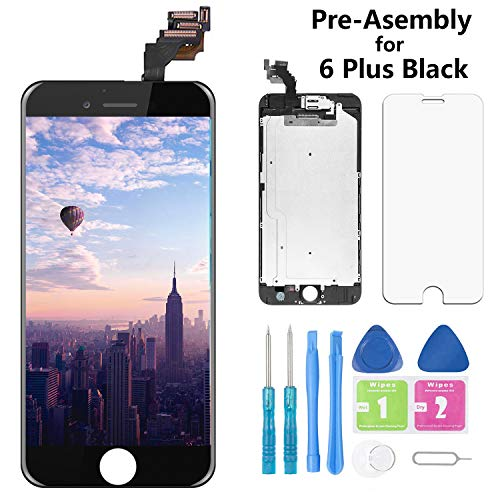 Screen Replacement for iPhone 6 Plus Black 5.5 Inch LCD Display A1522 A1524 A1593 Pre-Assembly Touch Digitizer with Front Camera, Proximity Sensor, Earpiece and Screen Protector