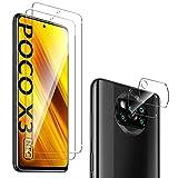 GEEMEE für Xiaomi Poco X3 Pro/Poco X3 NFC Protector de Pantalla + Protector de Lente de cámara,【2 Pack+ 2 Pack 】 Cristal Templado Película Vidrio Templado 9H Alta Definicion Screen Protector