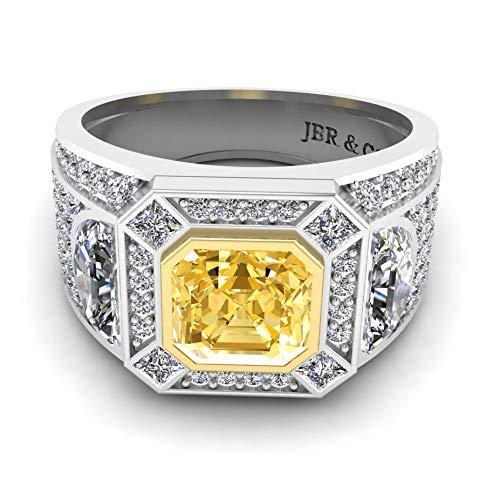 Anillo de boda Jbr Cadillac Bling en plata de ley para mujer, solitario con circonita cúbica, anillo de boda, aniversario, promesa de regalo romántico