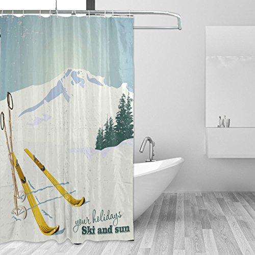 COOSUN Dusche Berge & Ski Ausrüstung Schnee Vorhang Polyester-Gewebe Wasserabweisend schimmelabweisend Duschvorhang für Badezimmer Badewannen Dekorative, 72W X 72L inches 72x72 Unisex