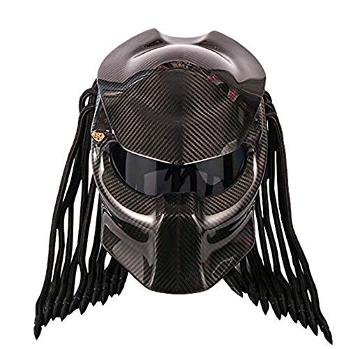 ZJRA Casco de la Motocicleta, Predator Creativo Fresco Fibra de Carbono Moda Hombres Mujeres Anti-UV Máscara antivaho Locomotora de la Motocicleta Todo Terreno Casco Facial/Certificación Dot,S55~56CM