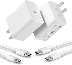 [2-Pack] iPhone Fast Charger, 20W USB C Wall Charger with MFi Certified 6.6FT Charger Cable Type C Charger Adapter Compatible with iPhone 12/12 Mini/12 Pro Max/11 Pro Max/XS Max/XS/XR/X,iPad Pro