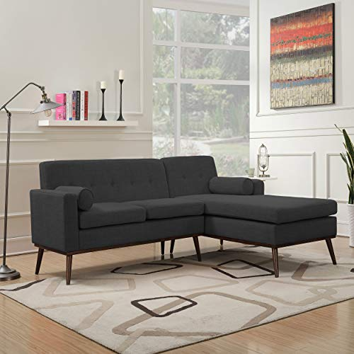 Christopher Knight Home Sophia Mid Century Modern 2 Piece Fabric Sectional Sofa and Lounge Set, Muted Dark Grey/Walnut