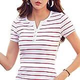 Camiseta de manga larga para mujer, de algodón corto, de manga larga, para mujer, diseño de rayas de verano,...