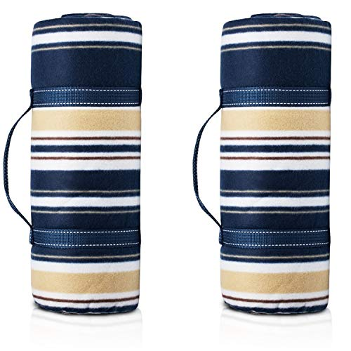 80'x60' Picnic Blanket,Waterproof Camping Portable mat with Picnic Recipes Book (Blue 2 Pack)