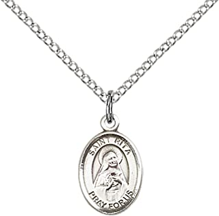 F A Dumont Sterling Silver St. Rita of Cascia Pendant with 18