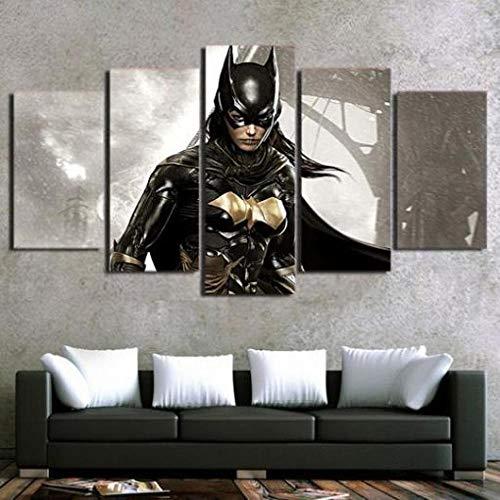 XHJY 5 Piezas Cuadro sobre Lienzo Impresión Cuadros Decoracion Salon Grandes Cuadros para Dormitorios Modernos Mural Pared Listo para Colgar,Batman Batichica-200 x 100 cm