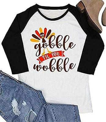 BANGELY Gobble Til You Wobble Funny Thanksgiving Shirt Women Turkey Graphic 3/4 Sleeve Raglan Tops Cute Tees