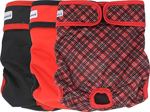 Petsweare wasserdicht saugfähigkeit waschbare robuste Wiederverwendbare Hundewindeln läufigkeitshose inkontinenzunterlage für weiblichen Welpe und Hündinnen 3 Pack (X - Small, Scottish Rot)