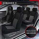 DBS - Housses de siège sur Mesure pour Berlingo 2 3s (04/2008 à 08/2018) | Housse Voiture/Auto d'intérieur | Haut de Gamme | Jeu Complet en Tissu | Montage Rapide