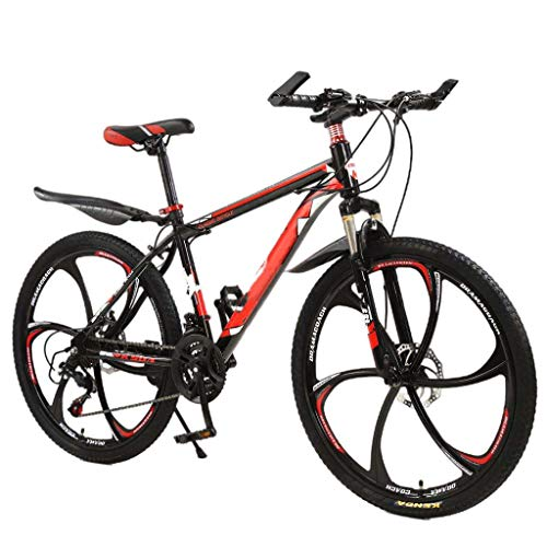 Youdw Black + Red Aluminum Full Mountain Bike, Stone Mountain 26 Inch 21-Speed Bicycle for Junior and Adult Outdoor Fun School Traveling Work