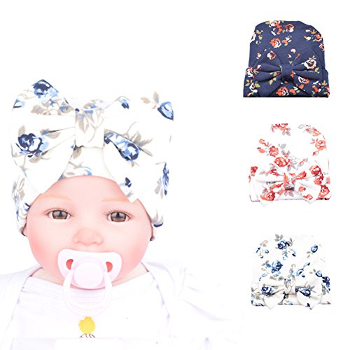 Ademoo Newborn Baby Girls Nursery Beanie Hospital Hat with Bow (Floral Bow 3 Colors/ 0-3 Month)