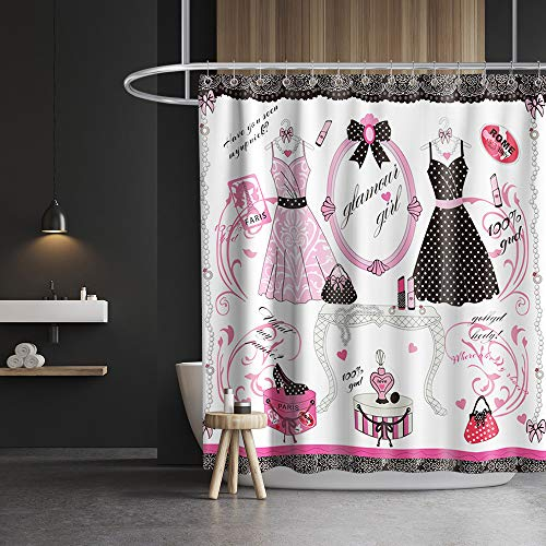 Paris Fashion Shower Curtain Princess Dress Theme Cloth Fabric Girls Bathroom Decor Set with Hooks Waterproof Washable 72 x 72 inches Red and Black Pink