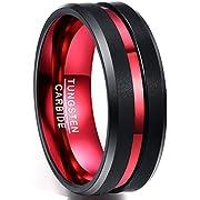 NUNCAD Ring schwarz+rot aus Wolframcarbid Herren/Damen 8mm, Unisex Ring für Männer und Frauen, perfekt für Partnerschaft und Verlobung, Größe 75 (35)