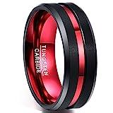 Nuncad Anillo Hombre Mujer Parejas de Tungsteno Negro + Roja 8mm de Ancho con Ranura Roja para Compromiso Aniversario Día de San Valentín Talla 22 (19,8mm)