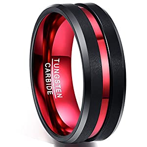 NUNCAD Ring Damen/Herren 8mm breit, Unisex Ring Wolfram schwarz rot mit Groove Design, Comfort Fit für Hochzeit, Partnerschaft, Lifestyle, Hobby und Fashion, Größe 59 (19)