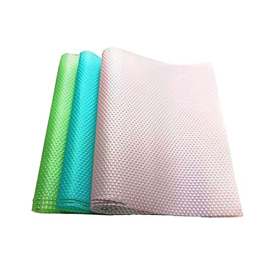 Mydio 9 alfombrillas de nevera de 44,2 x 29,5 cm de grado alimenticio EVA para nevera, almohadillas de refrigerador, para estantes, alfombrillas de mesa, 3 rosa/3 verde/3 azul