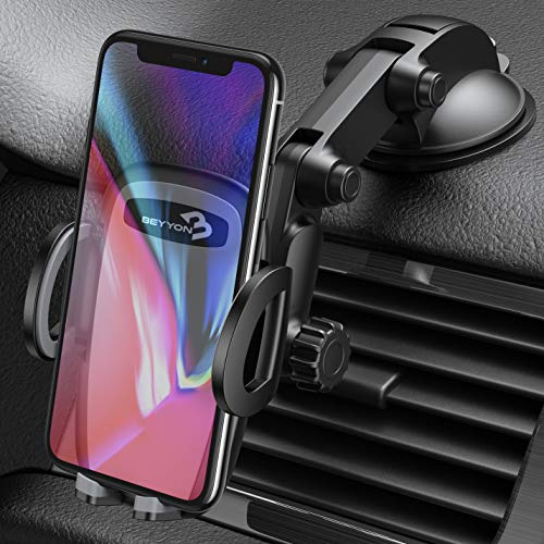 Cell Phone Holder for Car - BEYYON Dash Mount Car Phone Holder for iPhone 11 Pro Xs Max XR X 8, Samsug Galaxy S10+ S9 S8, Note 9, LG, Huawei