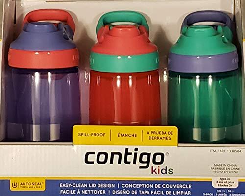 Contigo Kids Gizmo Sip Wasserflaschen, auslaufsicher, BPA-frei, mit AutoSeal-Technologie, mehrfarbig, 3er-Pack – Lila, Pink, Blau