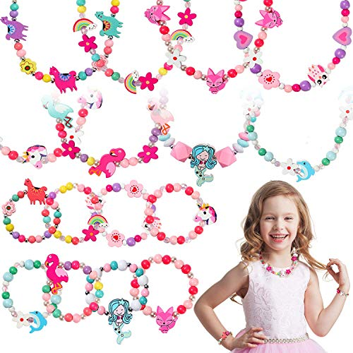 Tacobear 20pcs Kids Jewellery Wooden Necklace Bracelets for Girls Princess Dress Up Jewellery Set Candy Colors Flower Animal Owl Unicorn Bracelet Necklace for Kids Girls Party Bag Fillers