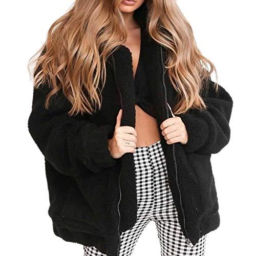 Somedays Frauen Warme Strickjacke Mäntel Mode Weichen Flauschigen Kunstpelz Winter Fleece Revers Reißverschluss Jacken Outwear Mantel