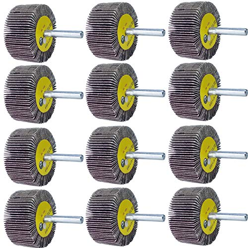 "M-jump 12 Pcs 2""X 1"" X1/4"" Flap Wheels Set –3 pcs Of Each 40 60 80 and 120 Grits Aluminum Oxide for Remove Rust and Weld Burr – 1/4 Shank Fits All Drills"