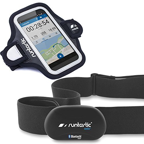 Runtastic Bundle Promotion RUNBT1 + RUNARM3, Heart Rate Combo Monitor, Fascia Cardio Bluetooth Smart + Sports Armband 3.0 Fascia Contenitore Braccio in Neoprene, Nero
