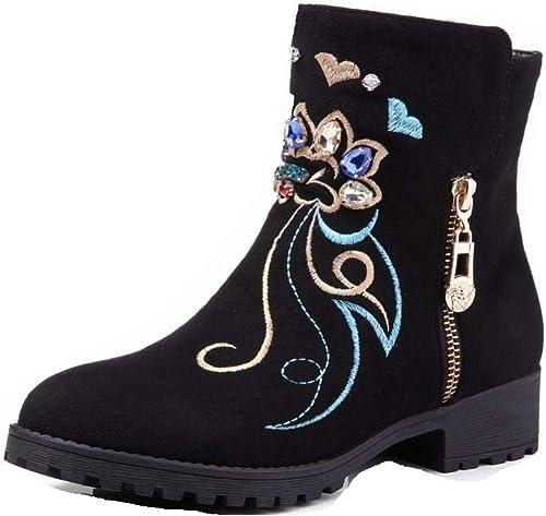 Fuxitoggo Bottes brodées à la Mode pour pour pour Femmes - Chaussures Plates - Bottes brodées Plates - Hiver et Hiver - Velours Chaud 34-40 (Couleuré   Rouge Vineux, Taille   35) dd8