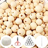 ZesNice 650 cuentas de madera para enhebrar, perlas de madera naturales redondas...