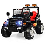 INFANS Kids Ride on Car Truck with Remote Control,12V Battery Powered Electric Cars for Kids w/3 Speeds, Adjustable Volume, Battery Display, LED Headlights, Music & Horn, MP3/ AUX/USB/TF Card, Black