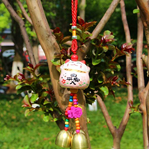 Maneki Neko - Colgante de Campana Feng Shui con Porcelana Japonesa para Gatos, Amuleto de la Suerte Tradicional (Rosado)