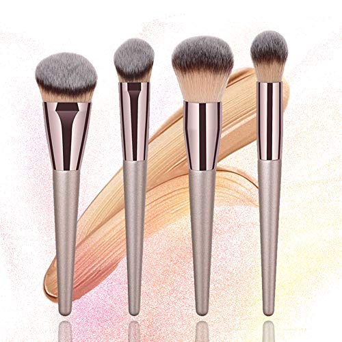 BBL 4pcs Luxury Champagne Gold Makeup Brush Set Premium Synthetic Foundation Blending Powder Liquid Cream Buffing Tapered Concealer Contour Face Kabuki Make Up Brushes cosmetics tools applicator