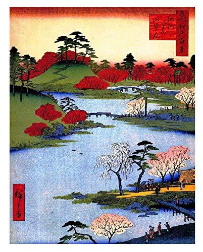 REDWPQ Cuadro en Lienzo Arte Pintura al óleo Paisaje Marino Pintado a Mano Arte japonés Ver por Hiroshige Pintura Impresión del Arte Cartel Decoración de la Pared 42 * 60 Cm Sin Marco