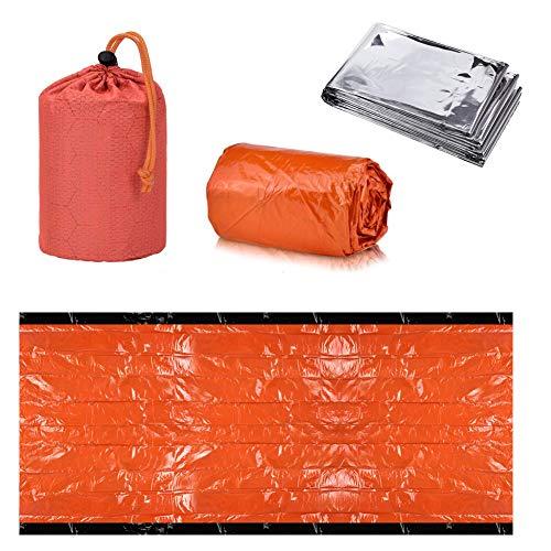 INTVN Notfall-Zelt Survival Schlafsack Biwaksack mit Rettungsdecken Überlebensdecke Sicherheitsdecke für Outdoor Camping Wandern 2 Stück
