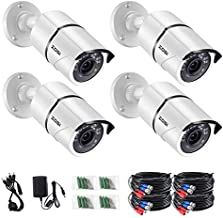 ZOSI 4PACK 1920TVL 1080P HD TVI Security Cameras 120ft Night Vision CCTV Cameras Home Security Day/Night Waterproof Camera for 720P,1080P,5MP,4K HD-TVI Analog DVR Systems