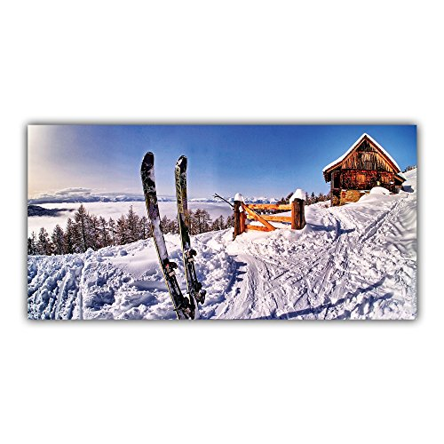 Arimaje Ski Tableau Décoration Photo Paysage Montagne Neige Chalet Hiver Imprimé (60 x 120 cm, Plaque Rigide Alu 2 mm)