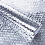 Hode Papel Adhesivo Vinilo Decorativo Aluminio Resistente para Cocina Armario Cajón Autoadhesivo Plateado 40X300cm